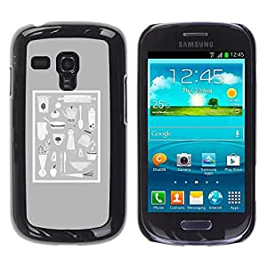 Be Good Phone Accessory // Dura Cáscara cubierta Protectora Caso Carcasa Funda de Protección para Samsung Galaxy S3 MINI NOT REGULAR! I8190 I8190N // Grey Food Kitchen Culinary Pan C
