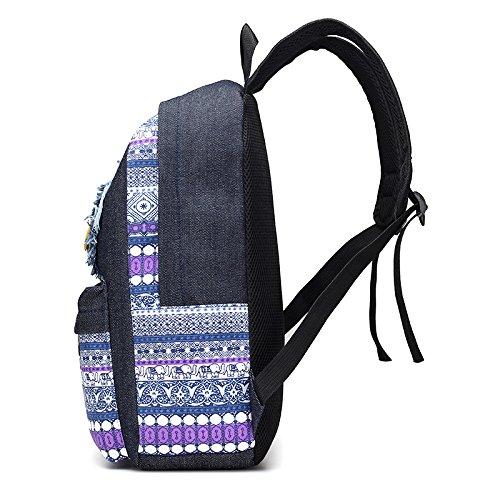 Lächeln und Sterne Muster Patch Rucksack Teenager Baumwollstoff Schultasche Outdoor Freizeit Daypacks Stern-lila 4LxpuV