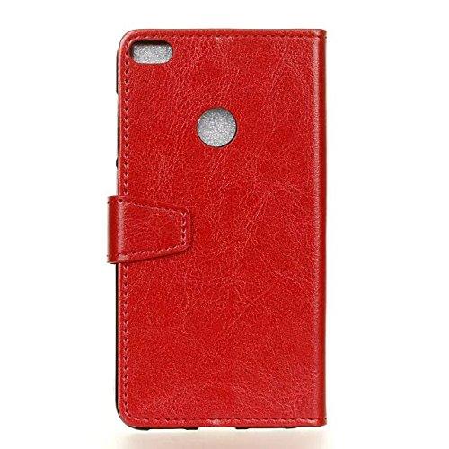 Cristal de grano de cuero de la PU de la carpeta de la caja del teléfono Funda de silicona suave cubierta con ranuras de efectivo de tarjeta y función de pie para Huawei P9 Lite 2017 ( Color : Rose ) Red