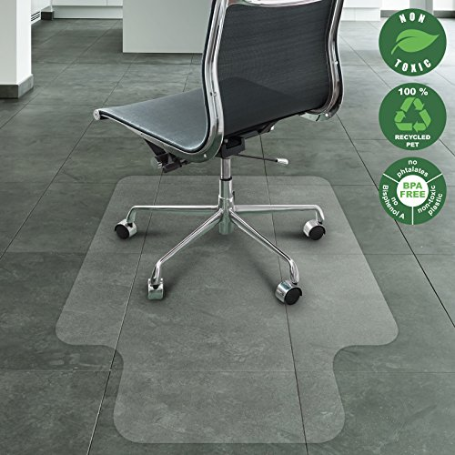 Office Marshal Eco-Series Chair Mat with Lip for Hard Floors, Translucent | 30'' x 48'' | 100% Recycled (PET), 100% BPA Free, Environmentally Friendly (Roller Chair Mat)