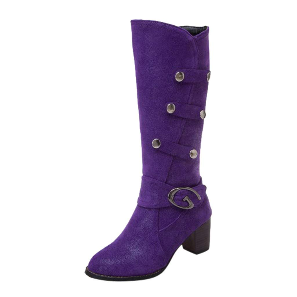 BIKETAFUWY Stretchy Thigh High Boots,Women's Round Toe Zipper Buckle Shoes High Chunky Heel Pumps Knight Booties Purple by BIKETAFUWY