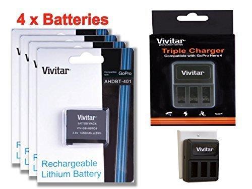 4 Pack of AHDBT-401 High Capacity 1650 mAh Li-ion Replacement Batteries for GoPro HD HERO4 (VIV-GB-HERO4) + Vivitar Triple Battery Charger (VIV-QC-8203)