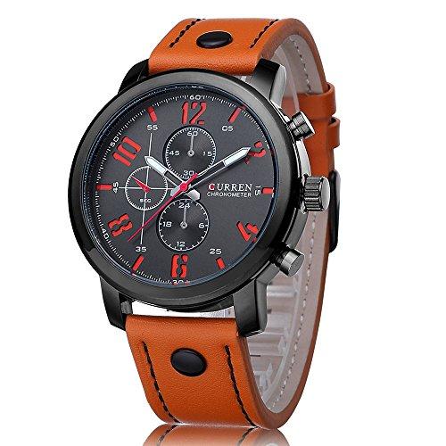 PHCOOVERS Men's Outdoor Sport Military Quartz Analog Round Dial Leather Band SecondsWrist Watch Orange