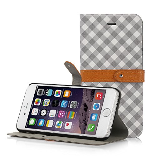 iPhone 6 Case, isYoung® [Colorful Plaid] PU Leather Wallet Stand Case Bumper Cover for Apple iPhone 6 4.7 inch with Magnetic Closure + Screen Protector + Stylus (Gray)