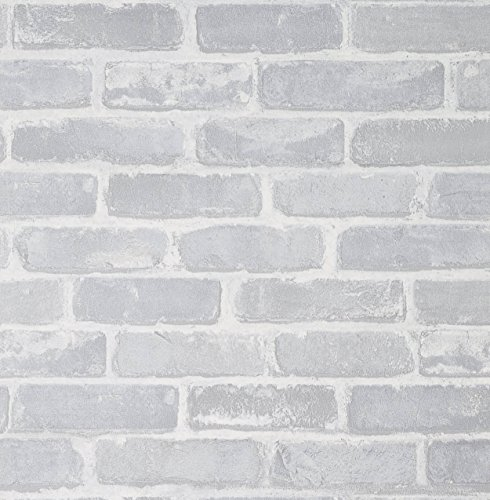 Brick Wallpaper, 222x20.8 inch Self-Adhesive White Line Peel and Stick Waterproof Vinyl Wall Covering,Home Decoration for Kitchen Wall Cabinet Vintage Furniture Shelf Liner Drawer Desk Cupboard ()