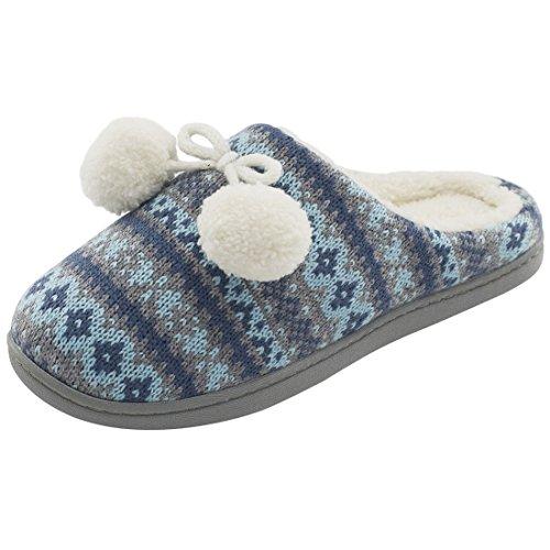 Rockdove Vrouwen Memory Foam Huis Spa String Slippers Blauwgroen Blauw