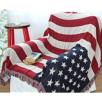 Amazon Com United States American Flag 3 Layer Afghan