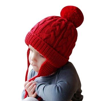 c4fd94dc0f8d Bonnet Chapeau Enfant Bébé Hiver Bonnets Tricoté Fille Garçon Respirant  Doux Beanie Hats avec Torsades Tresse et Gros Pompon Casquette Souples  Cache Oreille ...
