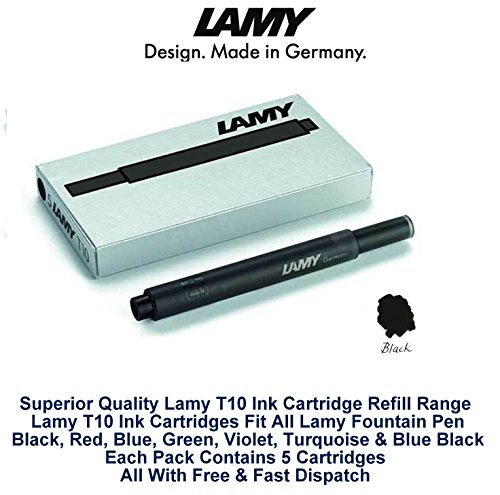 Lamy T10 Fountain Pen Ink Cartridges Refills- 10 pack (50 Cartridges) (Black)
