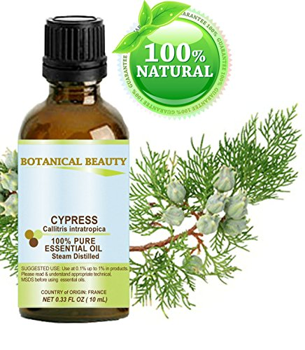 CYPRESS Essential Oil. 100% Pure Therapeutic Grade, Premium Quality, Undiluted, Steam Distilled. 0.33 Fl.oz.- 10 ml. by Botanical Beauty.