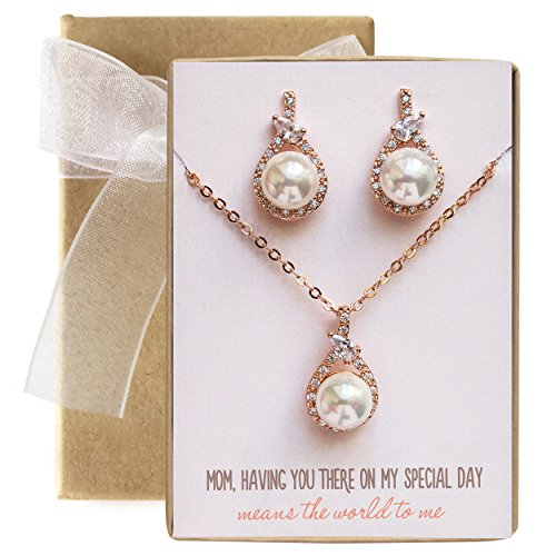 Wedding gift, Mother of the Bride / Groom Pearl Jewelry Set in Gold, Silver or Rose Gold (Tear Drop Pearl - Rose Gold Set) (Mother Of Pearl Rose Pendant)