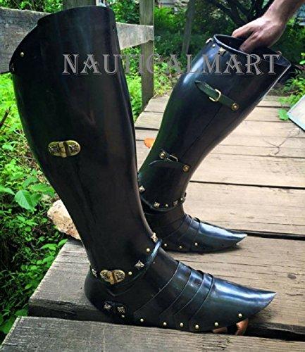 NAUTICALMART Armor Greaves Medieval Functional Black Steel Knights Leg Armor