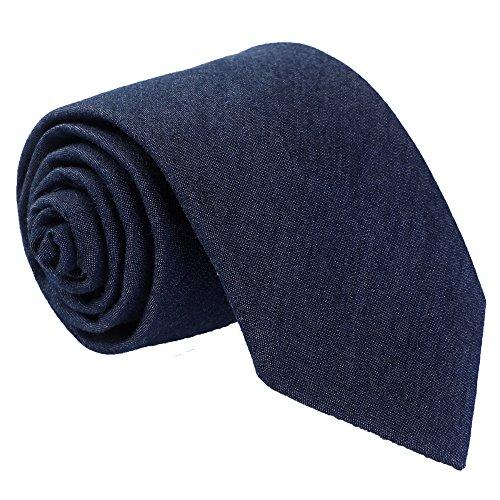 Fortunatever Men's Denim Handmade Tie,Classical Solid Necktie With Gift - Silk Knit Tie Cashmere