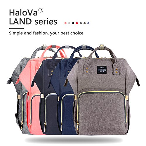 HaloVa Diaper Bag Multi-Function Waterproof Travel Backpack Nappy Bags for Baby Care, Large Capacity, Stylish and Durable, Black by HaloVa (Image #8)