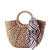 8b973a163 ANDEAR Mujer clásico paja tejida bolsos grandes bolsas de Casual de verano  bolsa de playa con