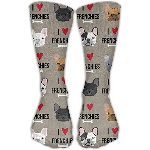 I Love French Bulldogs Socks Colorful Quarter Socks For Men & Women One - Clothing Quarter French
