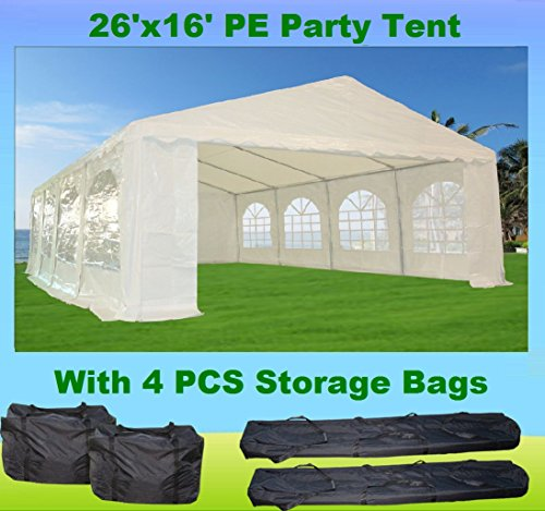 26'x16' PE Party Tent White - Heavy Duty Wedding Canopy Carport - with Storage Bags - By DELTA Canopies by DELTA Canopies
