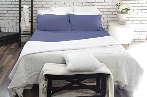 Paarizaat PZ-CT3-02BL 4 Piece 300 Thread Count Cotton Bed Sheet Set, Full, Blue, 100