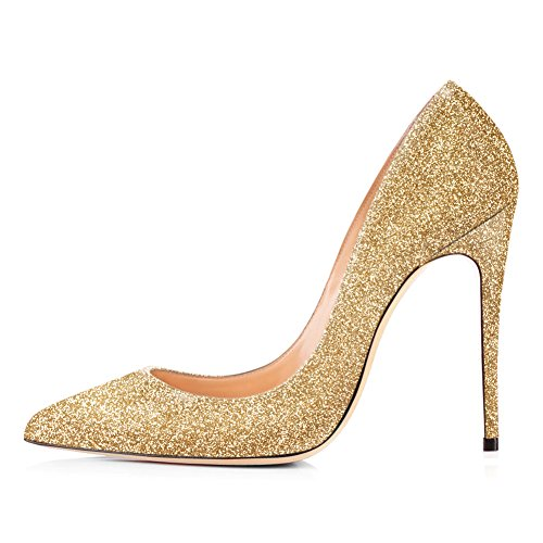 (Onlymaker High Heels, Women Slip-on Pumps Pointy Toe Party Dress Wedding Shoes Gold US 11)