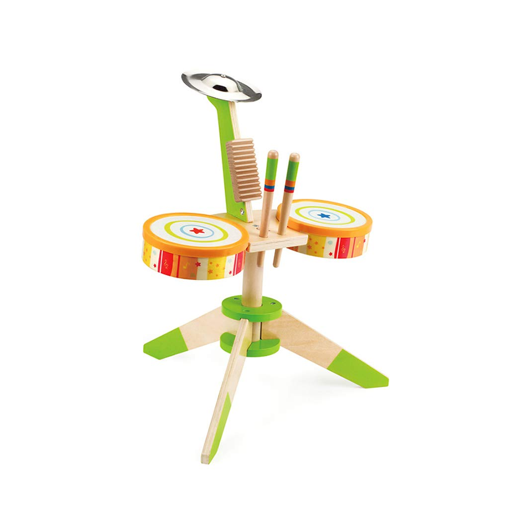 LINGLING-Trommel Kinder Drum Holzspielzeug Musik Früherziehung Percussion Instrument Geschenk (Farbe   Gelb) Gelb