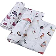 Bamboo Muslin Swaddle Blanket for Girls -2 Pack Woodland & Purple Floral  Bamboo Cotton Swaddle Wrap, Large Summer Muslin Baby Blanket, Perfect Shower Gifts by Little Jump (Woodland & Purple Floral)