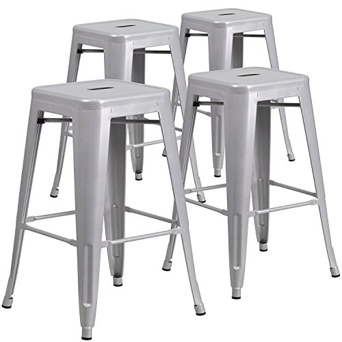 Belleze Set of 4 Modern Industrial Bar Stools Stackable Stool Footrest 30