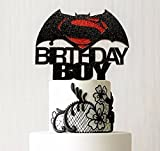 Batman VS Superman Custom Cake Topper, Birthday Boy Cake Topper, The Justice League, Batman Vs Superman Movie Cake, Superhero Party Decor