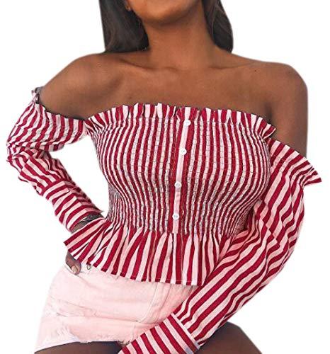 Tee Chemisier Printemps Rouge Slim Sexy Longues Col Bateau Shirts Tops Plisse avec Simple Fashion Shirt et Haut T Bouton Manches Automne Raye Fashion Femme Blouse 5SA7pqOz