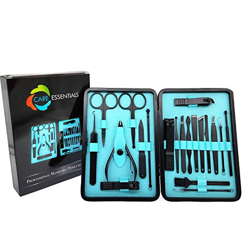 Care Essentials Manicure Pedicure Set Women Men| Professional Nail and Cuticle Care Tools| Portable 20pc Stainless Steel Nail Clippers Kit in a Luxurious Leather Case| Ideal for Travel, Office, Gift