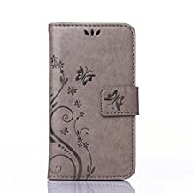 Liquid Z320 Z330 Case, Candy House Acer Liquid Z320 Z330 PU Leather Case Horizontal Wallet Case Magnetic Closure Flip Cover Simple Carved Flower Pattern Gray