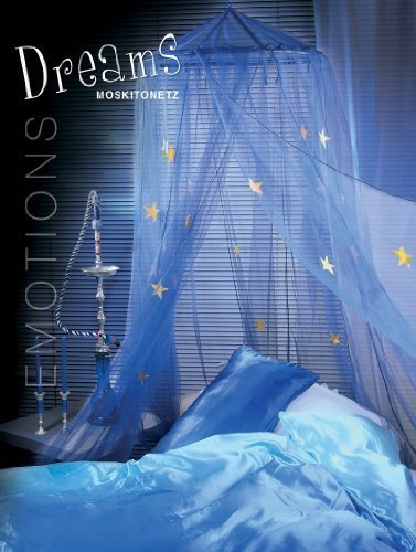 Moskitonetz Baldachin -Dreams- mit Leuchtsterne Betthimmel -blau-