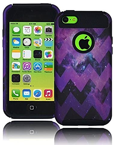 Bastex Heavy Duty Case for Apple iPhone 5C, 5th Generation - Purple Chevron Galactic Space Nebula Design Hard Case Cover with Coal Black Soft Silicone (Disney Cell Phone Cases Iphone 5c)