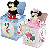 Disney (Set) Mickey & Minnie Mouse Themed Jack In The Box Tin Wind-up Toys