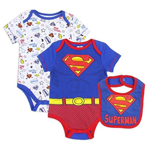 Superman Boys 3 Piece Onsie Set With Bib (0/3 Months)