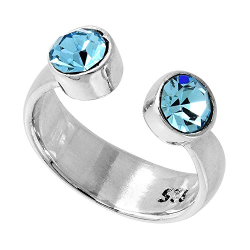 Aqua Colored Stone (Aquamarine-colored Crystals (March Birthstone) Adjustable Toe Ring / Kid's Ring in Sterling Silver, size 3)