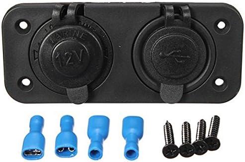 H HILABEE デュアル シガーライターソケット コネクタターミナル ネジ付 USB 電源アダプタ 防水 充電ソケット