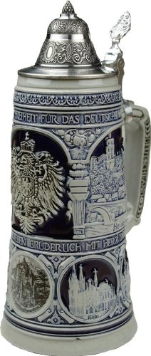 Beer Stein by King - Old Heritage CoA and Landmarks Relief Stone Grey German Beer Stein .75l Limited by KING