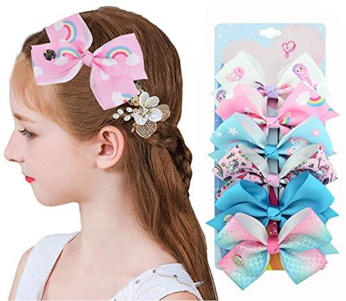 6Pcs Siwa Hair Bows for Girls-Rainbow Unicorn Hair Clips Accessories Ribbon Hair Barrettes for Toddler Kids Girls
