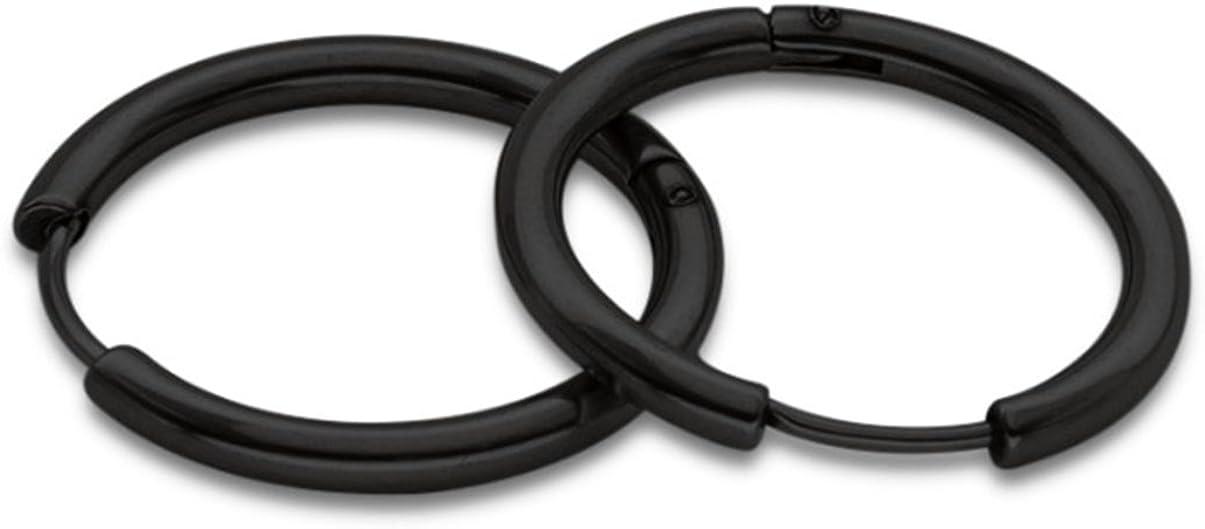 AnaZoz Joyería de Moda Acero Inoxidable Pendientes Ancho 2.5MM Pendientes de Aro Pendientes de Unisex 1 Par 8MM-20MM