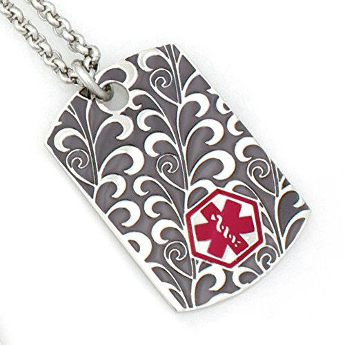 Women's Scroll Medical ID Dog Tag Necklace