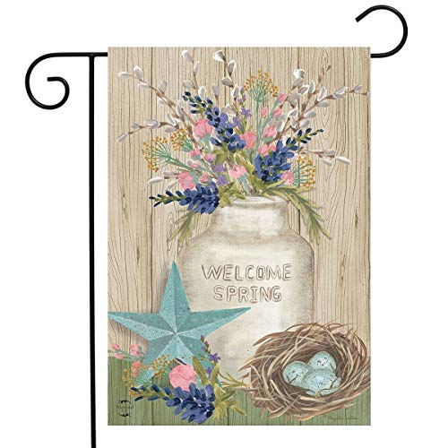 Primitive Spring - Briarwood Lane Gifts of Spring Primitive Garden Flag Mason Jar 12.5