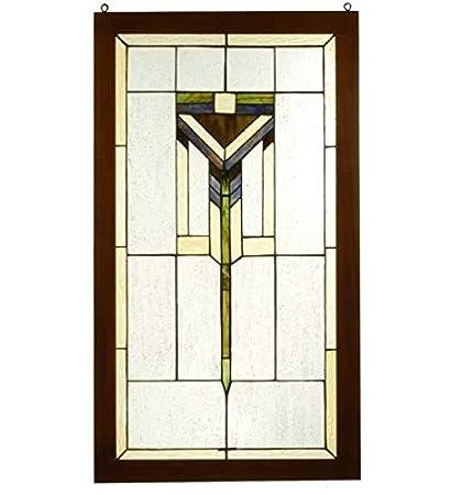 Amazon.com: Meyda Tiffany 98099 Prairie Wood Frame Stained Glass ...