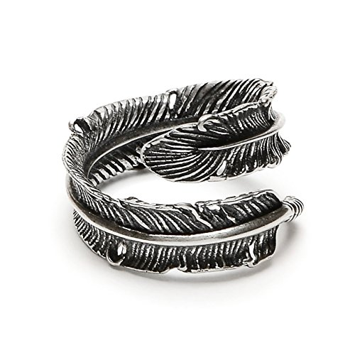 Silver Phantom Jewelry Adjustable Bird Feather Wrap Ring in Antique Sterling Silver (Medium) by