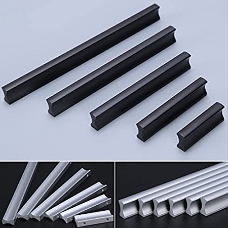 portes pour tiroirs Poign/ée de meubles Angela-homestyle en aluminium 96mm armoires de cuisine noir