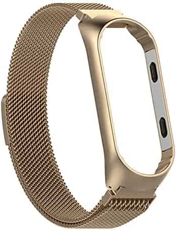 Milanese Magnetic Loop Stainless Steel Bracelet Watch Band Strap for Xiao Mi Band 3 (for Xiao Mi Band 3, Gold)