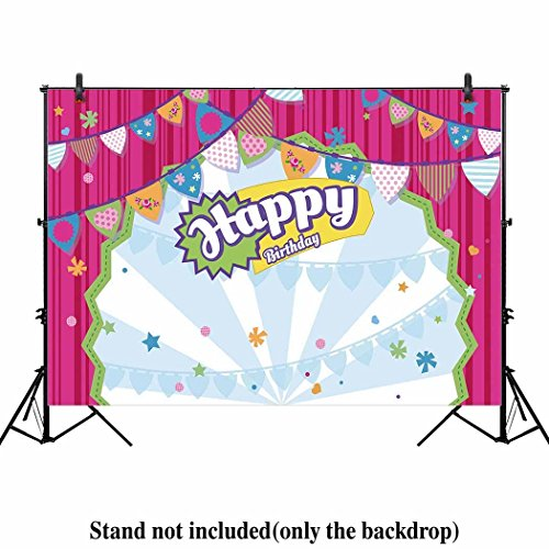 Allenjoy 7x5ft Shopping Shop Backdrop Buffet Girl's Baby Shower 1st First Birthday Party Sweets Table Decor Hot Pink Stripes Event Decorations Photo Booth Background Supplies Props Pictures Drop
