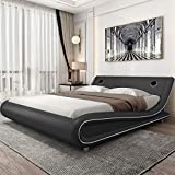 Amolife Modern King Size Bed Frame with Adjustable Headboard, Faux Leather Upholstered Platform Bed with 24 Wooden Slats, No Box Spring Needed, Speaker Space, Grey