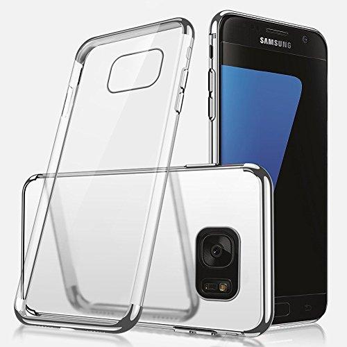 Galaxy S7 Edge Hülle,Galaxy S7 Edge Silikon Hülle,SainCat Plating TPU Handyhülle mit Überzug Farbig Rahmen Transparent Zurück Ultra dünne Crystal Clear TPU Durchsichtige Schutzhülle Durchsichtig Handy Silber