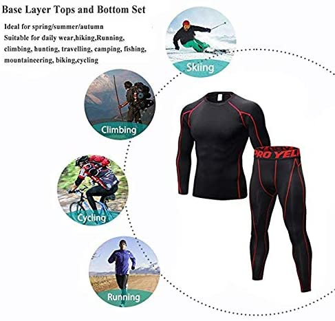 Minghe Mens Compression Base Layer Long Sleeve T-Shirt Leggings Athletic Cool Dry Running Tights
