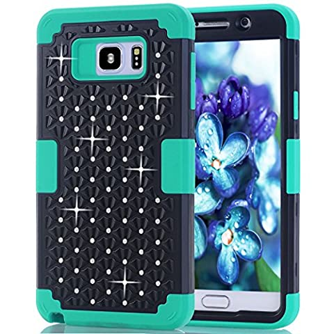 Samsung Galaxy Note 5 Case, NOKEA Diamond Hybrid Heavy Duty Shockproof Full-Body Protective Ultra Slim Bumper Cover 3 in 1 Shield Soft TPU Hard PC Dual Layer Impact Protection (Black (Galaxy Note 2 3 Layer Case)